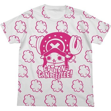 One Piece T-shirt White S: Chopper Cotton Candeeee!