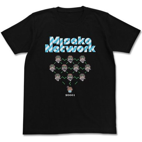 Toaru Majutsu no Index II T-shirt Black XL: Misaka Network (Re-run)