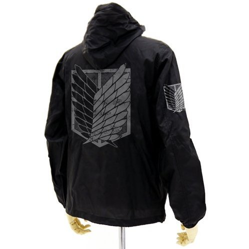 Attack on Titan Hooded Windbreaker Black x White XL: Survey Corps (Re-run)