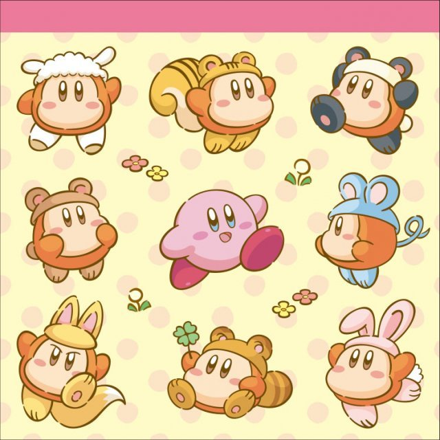Kirby's Dream Land Square Memo: Kirby & Animal Waddle Dee