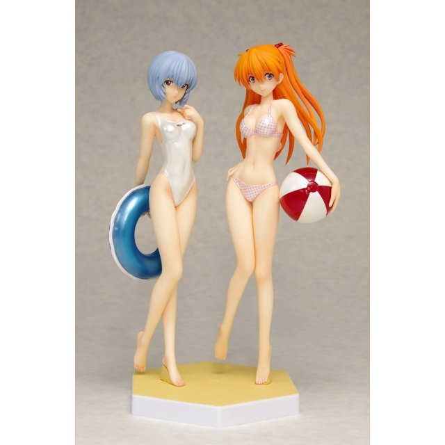Beach Queens Evangelion 1/10 Scale Pre-Painted Figure: Ayanami Rei & Soryu Asuka Langley Comic Ver. Set [Pearl Color Edition]