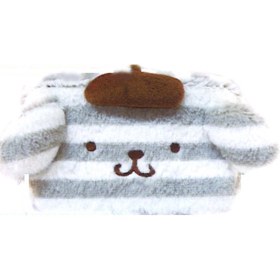 Pom Pom Purin Face Square Pouch: Boader Purin Series Gray