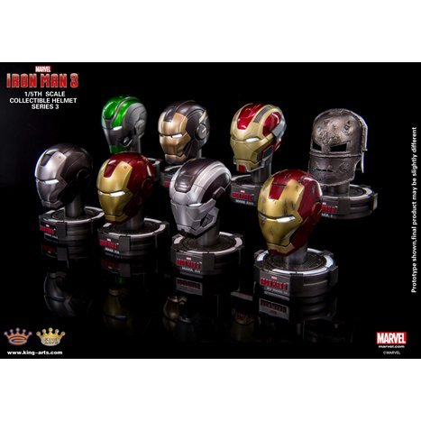 King Arts Iron Man 1/5 Deluxe Helmet Series 3 (Set of 8 pieces)