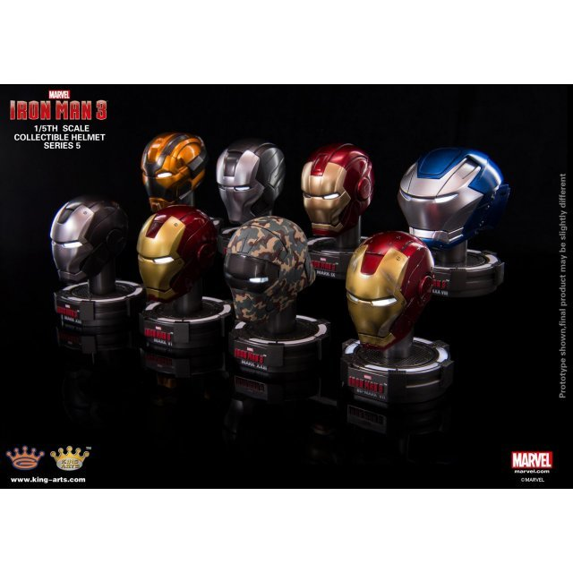 King Arts Iron Man 3 1/5 Deluxe Helmet Series 5 (Set of 8 pieces)