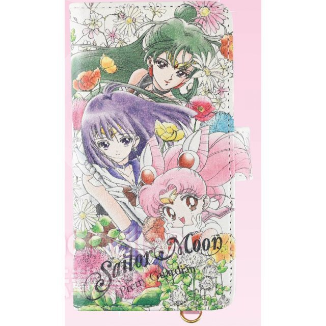 Sailor Moon Botanical Design Generalized Book Type Smartphone Cover: M Sailor Chibi Moon & Sailor Saturn & Sailor Pluto