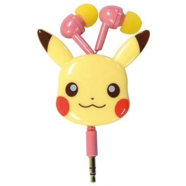 Pokemon Diecut Reel Type Stereo Earphones: Soft Color/Pikachu