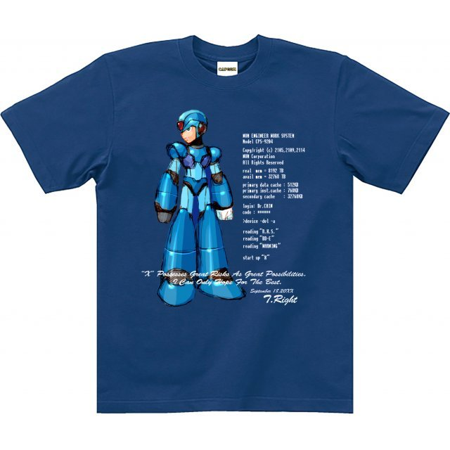 Rockman X T-shirt: X Blue (M Size) [Re-run]