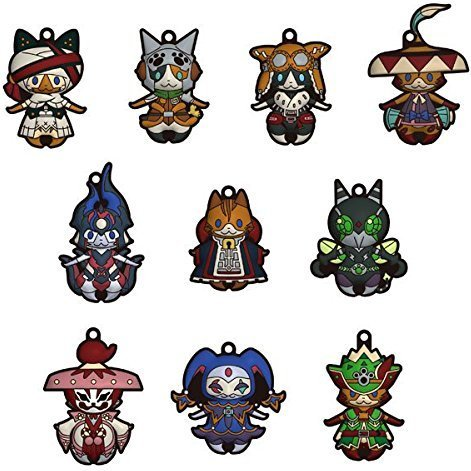Monster Hunter X 3D Rubber Mascot Collection: Otomo Airou (Set of 10 pieces)