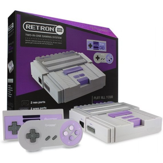 SNES/ NES Hyperkin RetroN 2 Gaming Console (Gray)
