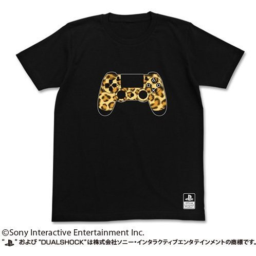 PlayStation T-shirt Black: Leopard Print Dualshock 4 (L Size) (re-run)
