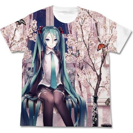 Hatsune Miku Haru Miku Full Graphic T-shirt White (S Size) [Re-run]