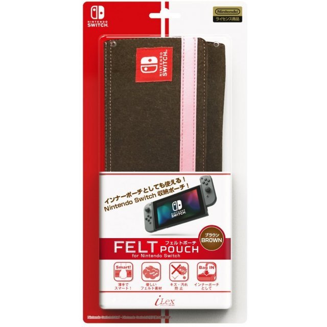 Felt Pouch for Nintendo Switch (Brown)