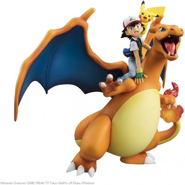 G.E.M. Series Pocket Monsters Pre-Painted PVC Figure: Ash Ketchum & Pikachu & Charizard