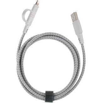 Energea NyloTough 2-in-1 MicroUSB + Lightning Cable 1.5m (White)
