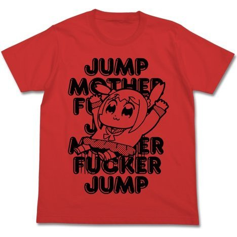 Pop Team Epic Jump T-shirt French Red (XL Size) (Re-run)