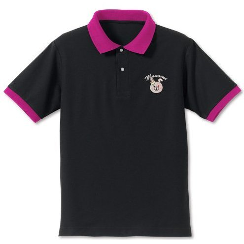 Danganronpa 3 - The End Of Kibogamine Academy - Monomi Face Embroidery Polo Shirt Black x Tropical Pink (XL Size) [Re-run]