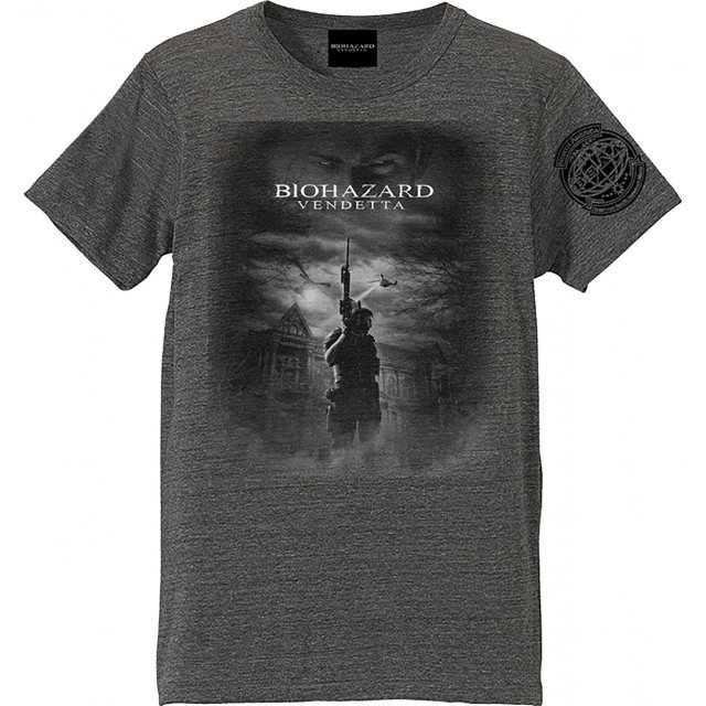 Biohazard Vendetta T-shirt Chris And Mansion Heather Gray (XL Size)