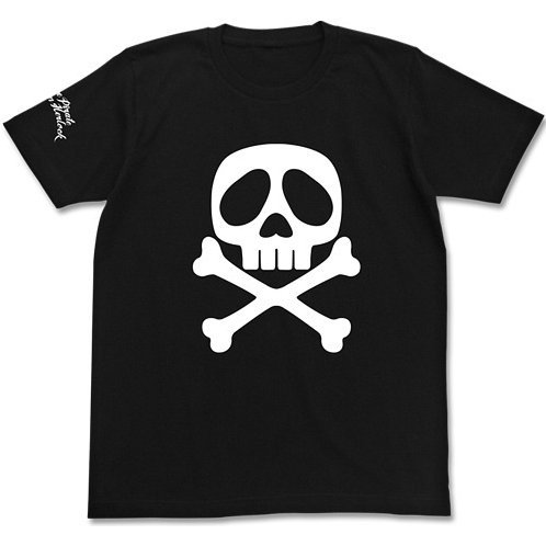 Space Pirate Captain Harlock Skull T-shirt Black (XL Size)