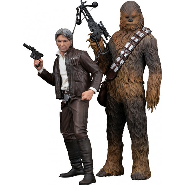 ARTFX+ Star Wars Episode VII The Force Awakens 1/10 Scale Pre-Painted Figure: Han Solo & Chewbacca 2 Pack The Force Awakens Edition