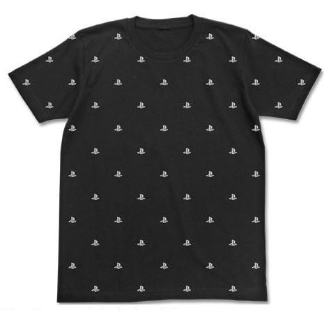 PlayStation Logo Pattern T-shirt Black (XL Size) [Re-run]