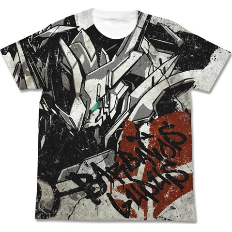 Mobile Suit Gundam Iron-Blooded Orphans Gundam Barbatos Lupus Full Graphic T-shirt White (M Size)