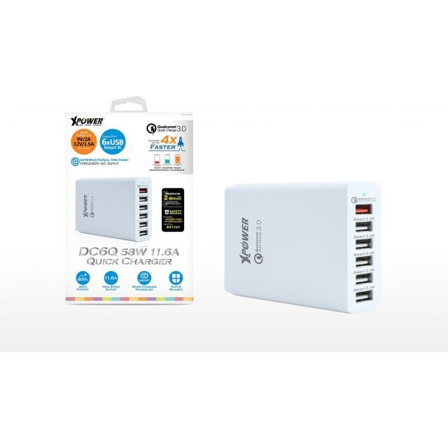 Xpower DC6Q 6-Port USB Smart Charger with Quick Charge 3.0 (White)