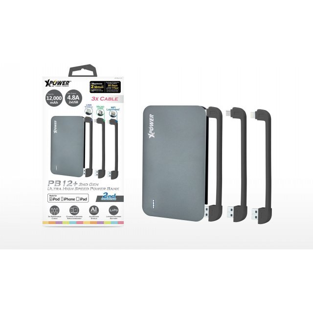 Xpower PB12+ 2nd Gen Ultra High Speed MFI Power Bank 12000mAh (Gray)