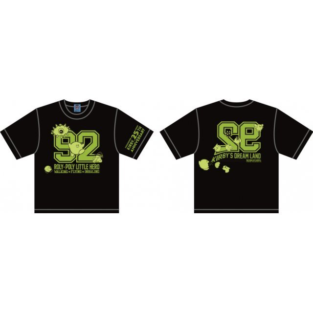 Kirbys Dream Land Numbering Kid's T-shirt Black With Mascot [Limited Edition] (Kids 140 Size)