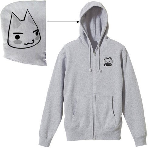 Dokodemo Issho - Toro Zippered Hoodie Mix Gray (S Size)