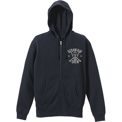 One Piece - Straw Hat Pirates Vintage Style Zippered Hoodie Black (XL Size)