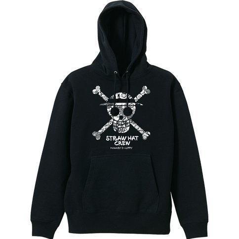 One Piece - Straw Hat Skull Flower Pattern Hoodie Black (M Size)