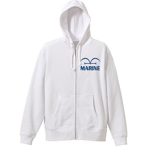 One Piece - Marine Zippered Hoodie White (L Size)