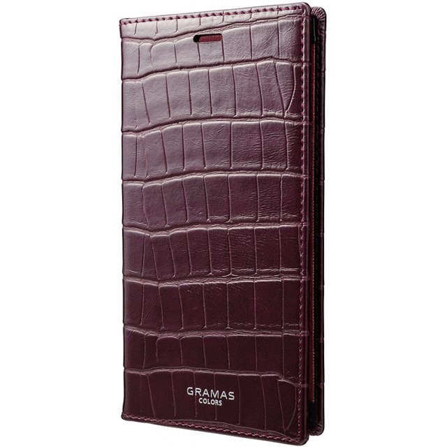 Gramas EURO Passione Croco Book PU Leather Case for iPhone X (Wine)