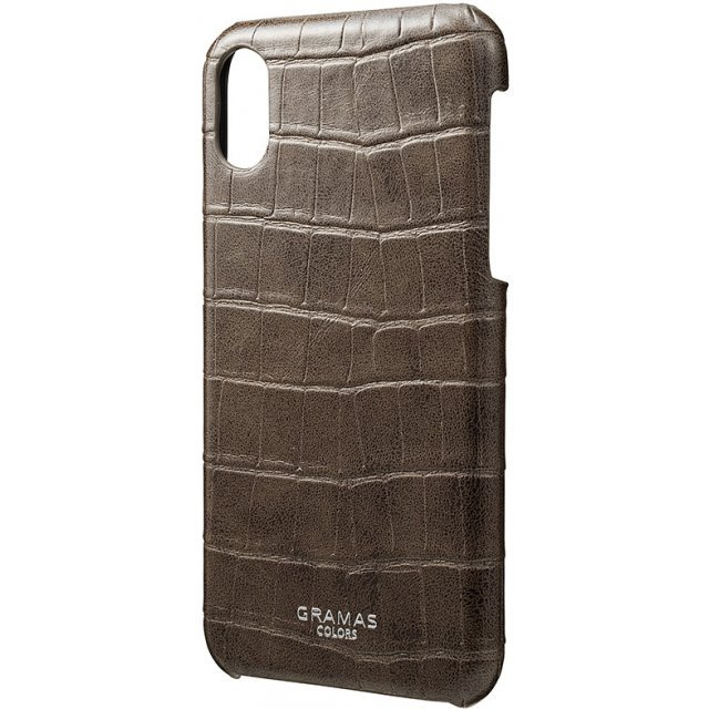 Gramas EURO Passione Croco Shell PU Leather Case for iPhone X (Greige)