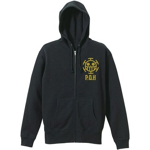 One Piece - Pirates Of Heart Vintage Style Zippered Hoodie Black (S Size)
