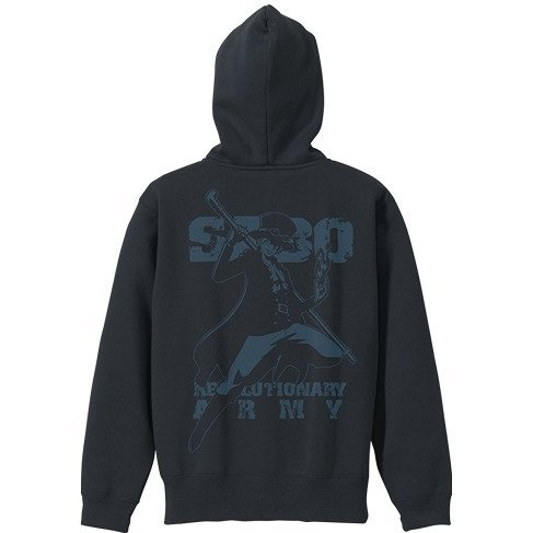 One Piece - Sabo Zippered Hoodie Black x Turquoise Blue (L Size)
