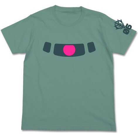 Mobile Suit Gundam - Zaku Mono Eye Phosphorescent T-shirt Sage Blue (S Size)
