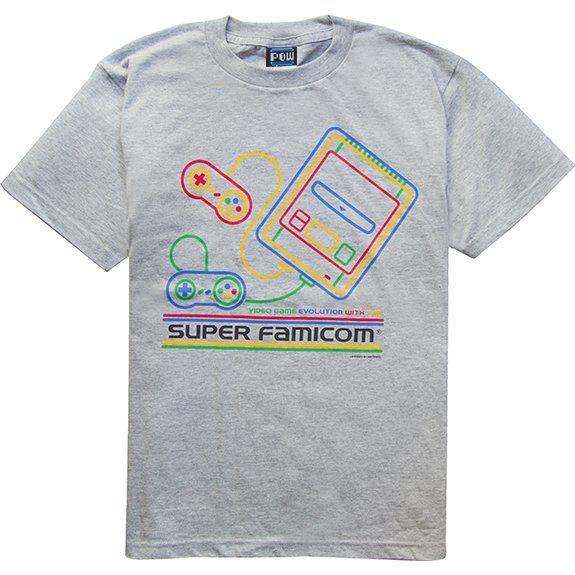 Super Famicom - SF-Box Design T-shirt Gray (M Size)