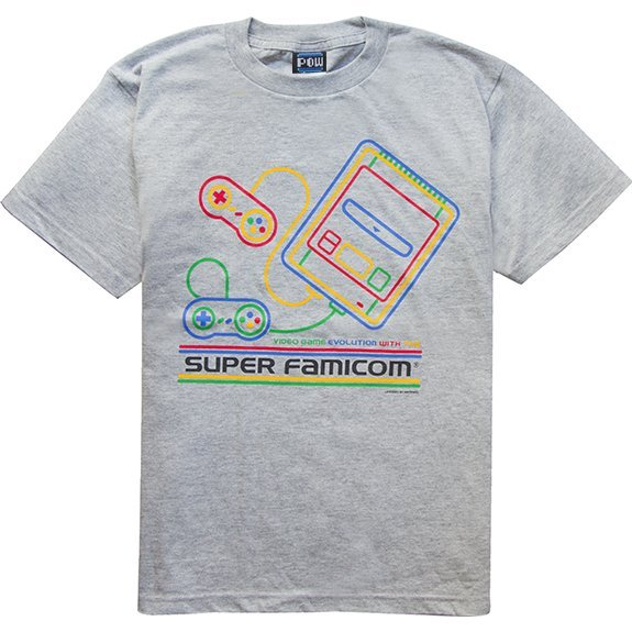 Super Famicom - SF-Box Design T-shirt Gray (XL Size)
