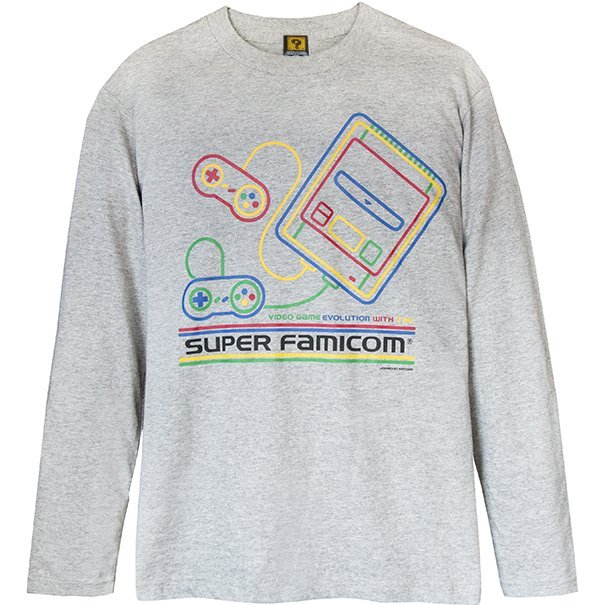 Super Famicom - SF-Box Design T-shirt Long Gray (XL Size)