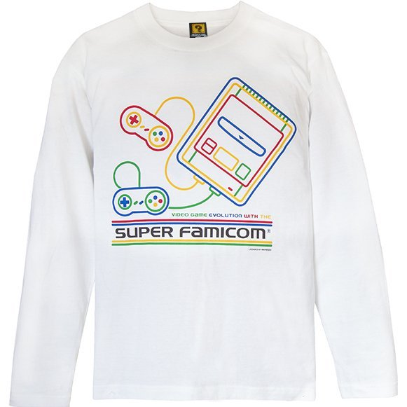 Super Famicom - SF-Box Design T-shirt Long White (XL Size)