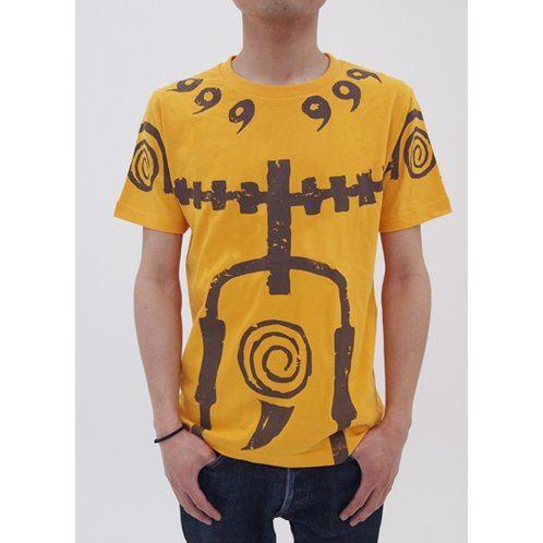naruto shippuden nine tails chakra mode t shirt gold m size