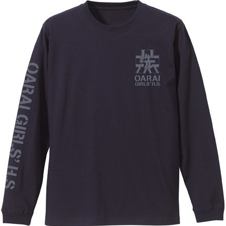 Girls Und Panzer Der Film - Oarai Girls High School Sleeve Rib Long Sleeve T-shirt Navy (M Size)