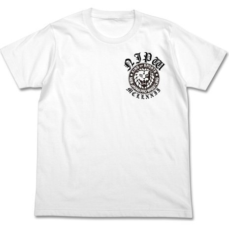 New Japan Pro-Wrestling - Lion Mark T-shirt Old English Ver. White (XL Size)