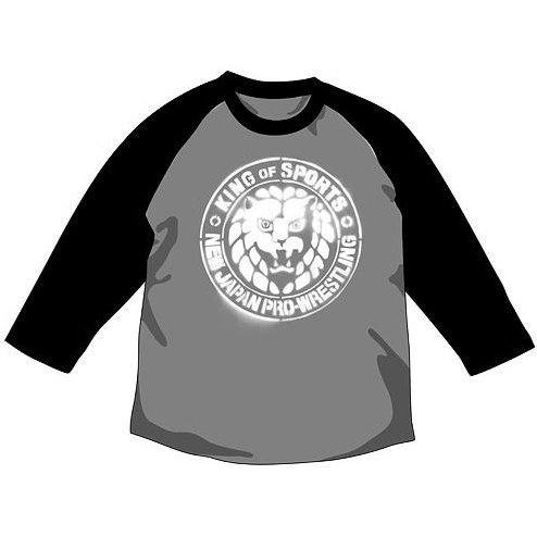 New Japan Pro-Wrestling - Lion Mark Stencil Raglan T-shirt Heather Gray x Black (L Size)