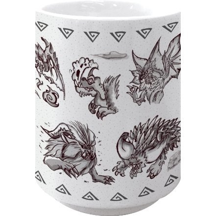 Monster Hunter: World Japanese Pattern Japanese Tea Cup Black