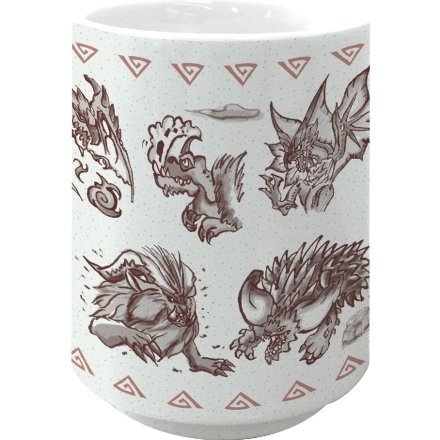 Monster Hunter: World Japanese Pattern Japanese Tea Cup Red