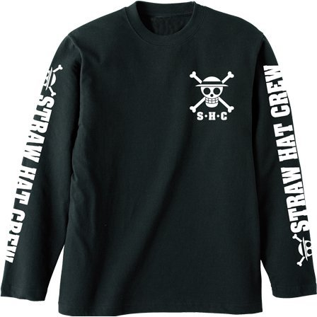 One Piece - Straw Hat Pirates Rib-less Long Sleeve T-shirt Black (XL Size)
