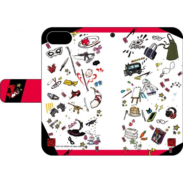 Persona 5 02 Pattern Design Book Type Smartphone Case Graff Art Design (iPhone 6/6S/7/8)