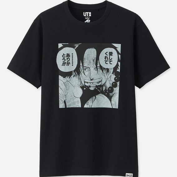 UT Jump 50th Anniversary - One Piece Portgas Men's T-shirt Black (XL Size)